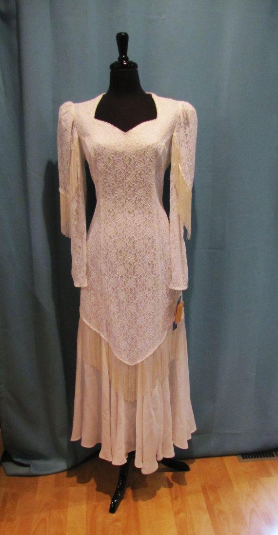 Vintage roper country western fringe wedding dress for Western lace wedding dresses
