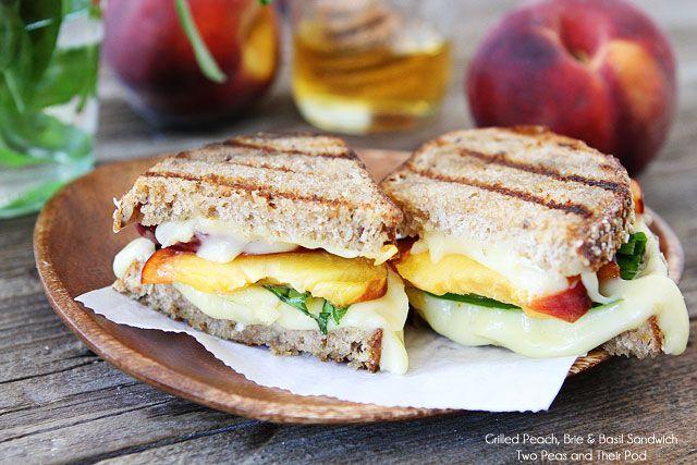 Grilled Peach, Brie, & Basil Sandwich on twopeasandtheirpod.com
