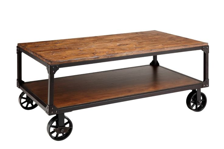Steam Punk Style Vintage Industrial Hardwar Coffee Table On Wheels