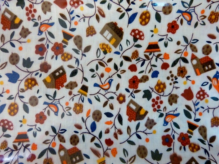 Waterproof Oilcloth Fabric - Birds, Floral and House - by RubyLimeDesign on Craftumi