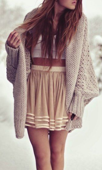 Crop top, girly skirt and big, comfy sweater. absolutely love ♥