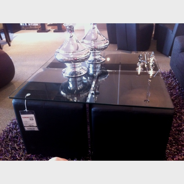 Glass Coffee Table W Removable Ottomans Home Inspirations Pinter