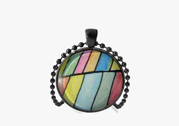CoLoRful Geometric  Hand Painted  Watercolor Pendant by MyDifferentStrokes, $19.00