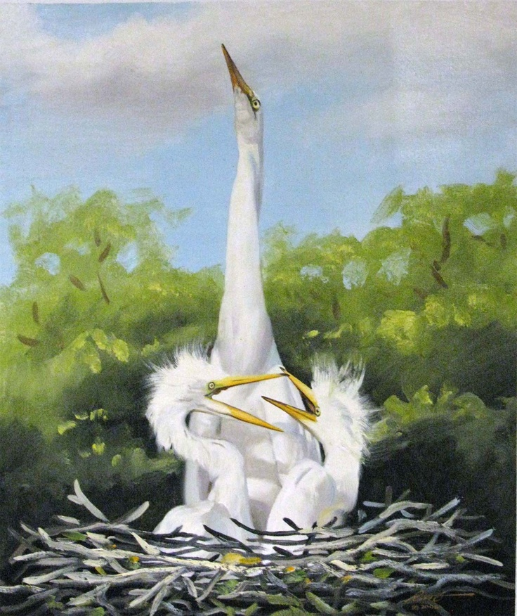 """GREAT WHITE EGRETS"" OIL ON CANVAS BY LISTED ARTIST RUSTY RUST // Sold 09/22/12"