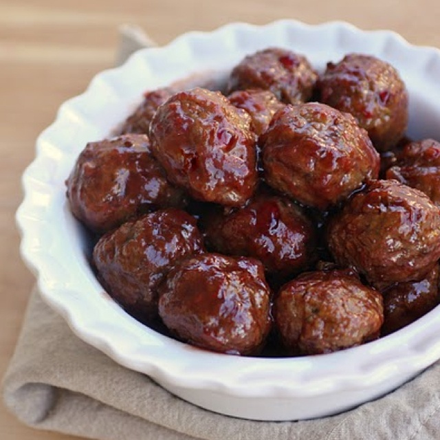 BBQ meatballs...substitute with veggie meatballs for vegetarian entree