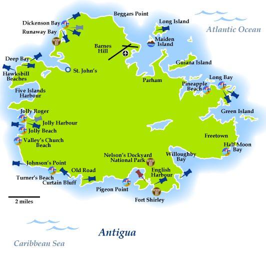 Antigua Map of Beaches | *Look! Antigua & Barbuda: West ...