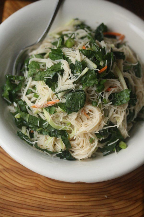 Rice Noodle Salad with Kale, Scallions, and Nuac Cham Sauce