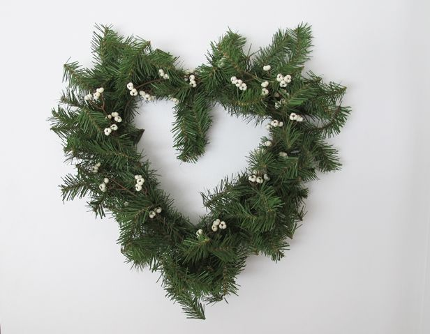 Reuse Christmas Materials to Make a Heart Wreath for Valentine's Day >> http://blog.diynetwork.com/maderemade/how-to/diy-heart-wreath-hanger-how-to?soc=pinterest