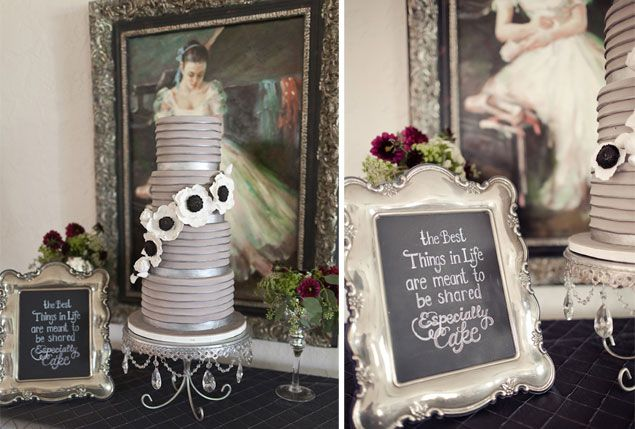 Gray Wedding Cake Designed by The Sugar Suite | PHOTO SOURCE • ANDI MANS PHOTOGRAPHY & DESIGN