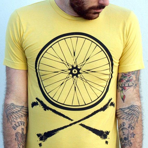 bike wheel and crossbones