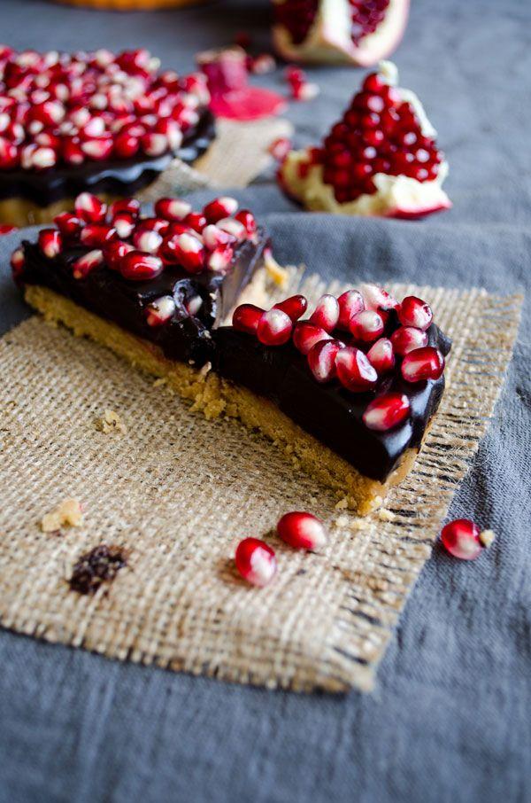 No Bake Chocolate Pomegranate Tart