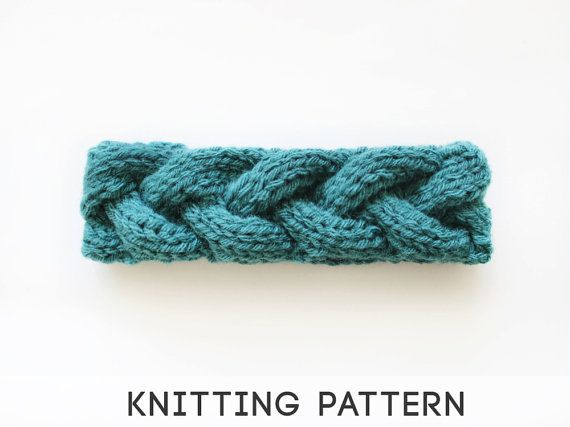 PDF Knitting Pattern Headband, Knitted Braid Cable Headwarmer, Braid