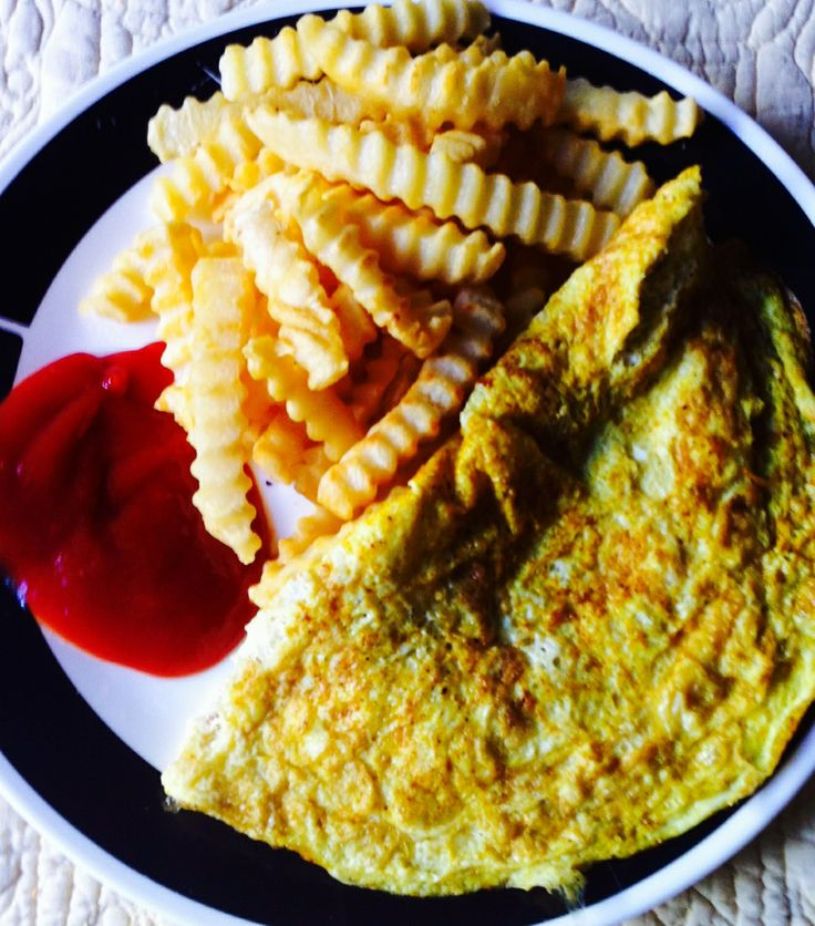 Breakfast: 4 egg whites and baked French Fries with 1 table spoon of ...