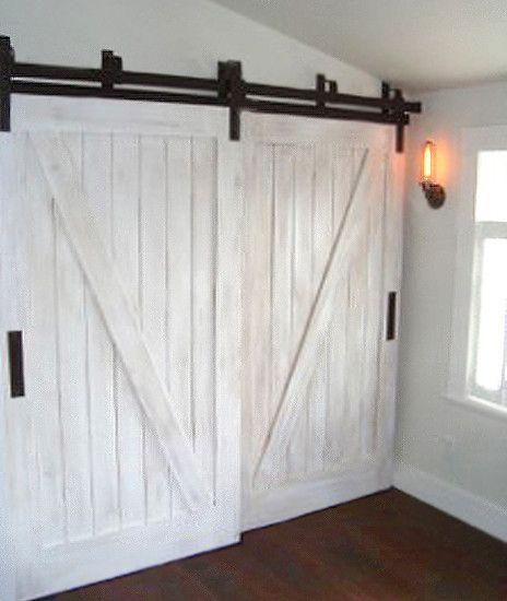 Bypass barn door hardware for the home pinterest for Bypass barn doors