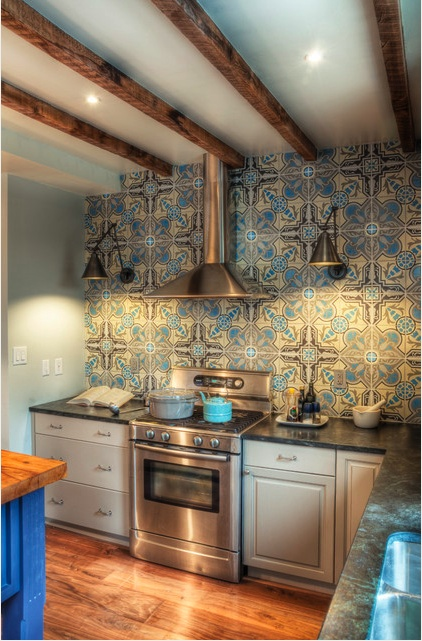 cool cement tile backsplash galley kitchen reno pinterest