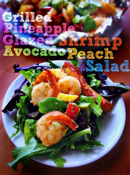 Grilled Pineapple Glazed Shrimp Avocado Peach Salad With Sweet and Savory Sweet Potatoe Zucchini Fries!