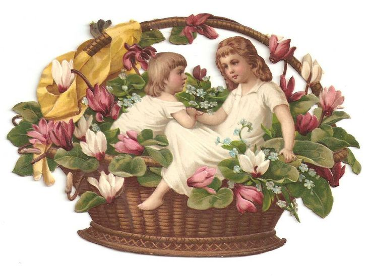 Victorian Die Cut Flower Basket