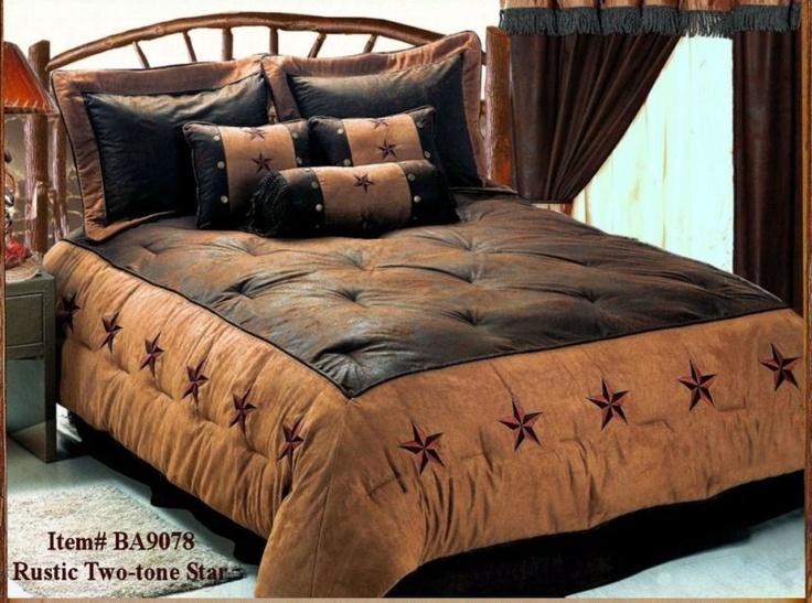 Western Cowboy Rustic Two Tone Star Comforter Bedding Set