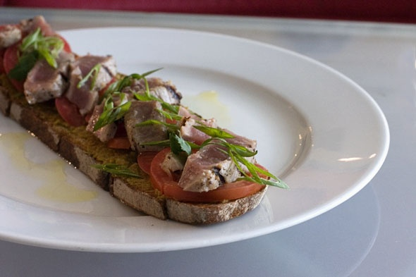 Seared Tuna Tartine w/ green olive and ginger root tapenade on Poilane ...
