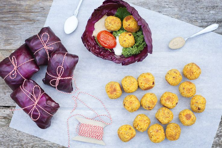 Baked Saffron Falafel in Red Cabbage Wrap, GreenKitchenStories ...
