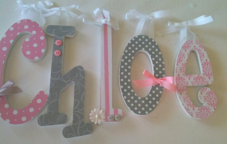 Pink and grey nursery decor baby girl wooden letters for for Baby name letters decoration