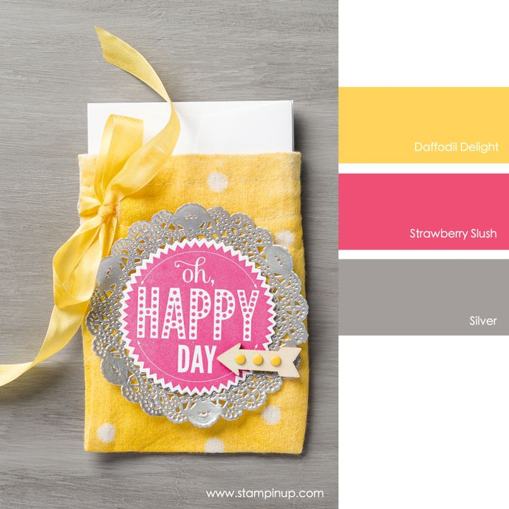 Daffodil Delight, Strawberry Slush and Silver #stampinupcolorcombos