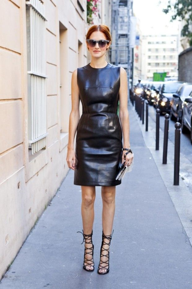 leather shift dress and strappy heels