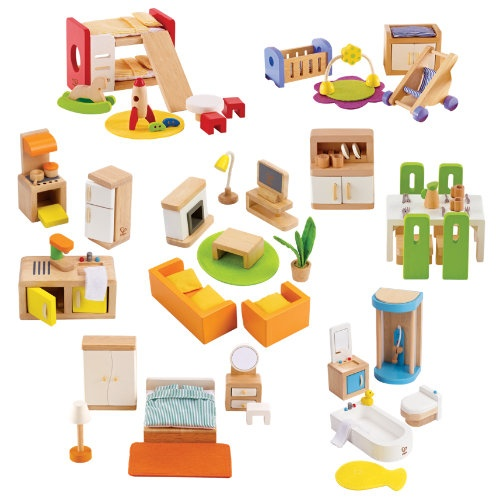 Complete Wood Dollhouse Furniture Set For The Girls