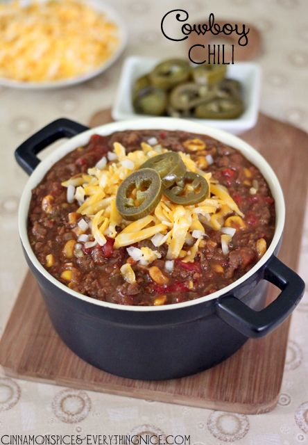 """""""Cowboy Chili"""".  So simple to serve for a football game get together with Sutter Home Zinfandel"""