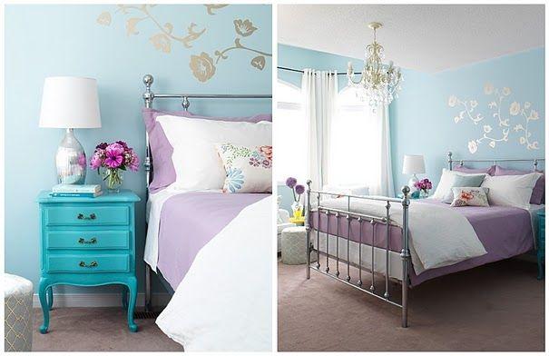 blue purple bedroom so cute rooms pinterest
