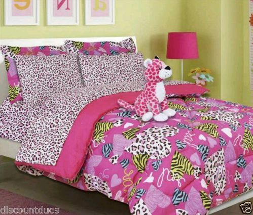 Girls bed in a bag pink minto hearts animal print comforter set sheets
