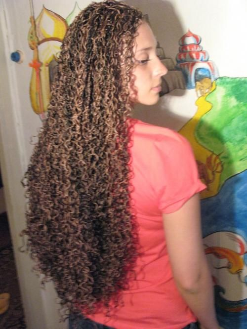 Tight curl perm long hair