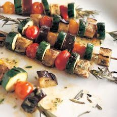 Marinated Summer Vegetables Grilled on Rosemary Skewers Recipe
