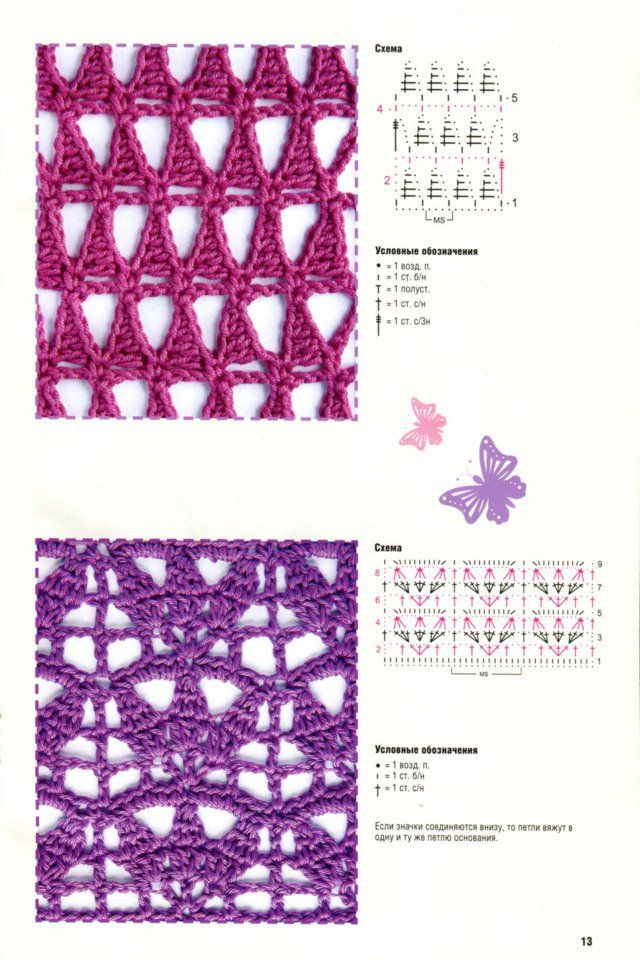 Crochet stitches - free diagrams Crochet Pinterest