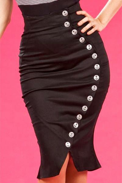 Retro Sailor High Waisted Skirt in Black with anchors buttons
