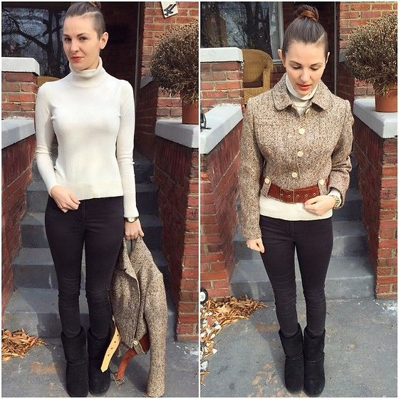 Banana Republic Turtleneck, H&M Pants, Vintage Jacket for cold weather style