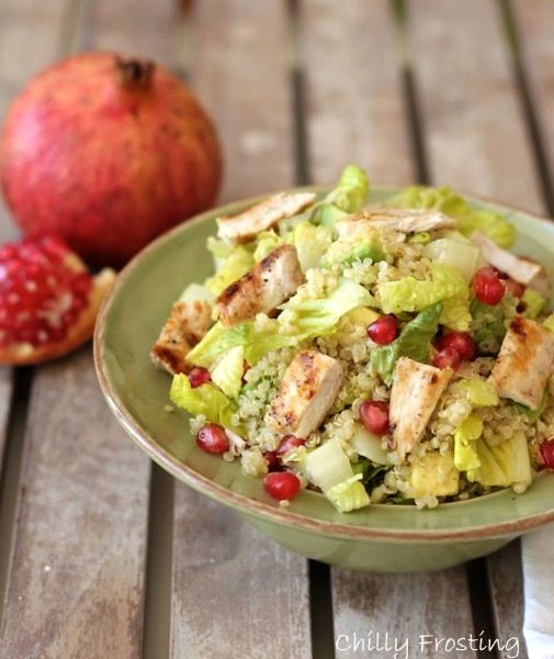 grilled chicken salad with quinoa pomegranate and avocado