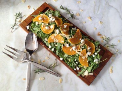 Roasted Butternut & Arugula with Peach and Rosemary Dressing
