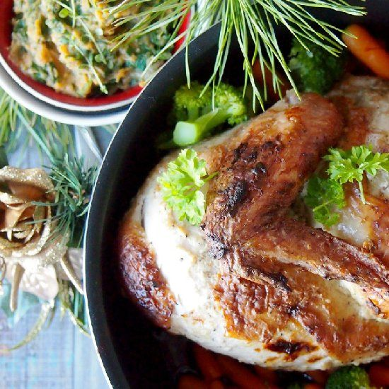 Roasted butterflied chicken with cardamom and yogurt. Delicious dinner ...