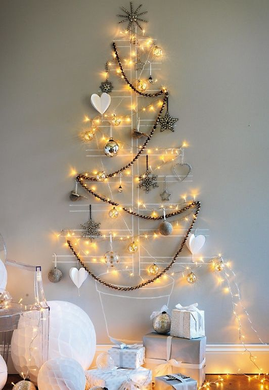 diy merry christmas tree lights wall 29 Creative And Unusual DIY Christmas Tree Ideas