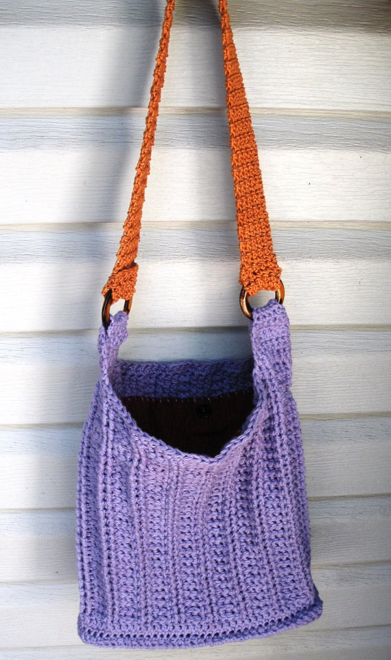 Lining Crochet Bag : Lavender Cotton Crochet Shoulder Purse with rust lining, ready to shi ...