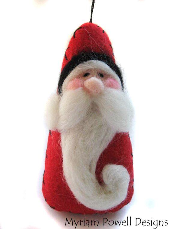 Santa Ornament - Christmas Ornament - Needle Felted Santa. $14.40, via ...