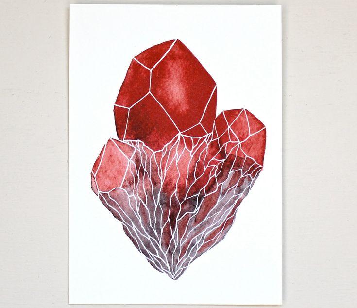Gemstone Crystal Cluster Watercolor Art Painting ...