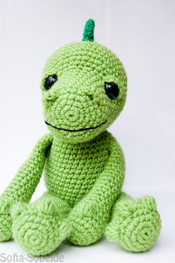 Amigurumi dragon dinosaur pattern crocheted soft toy plush ...