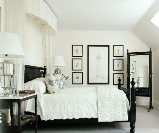 White walls with off white and black - gives a vintage feel whilst still being bold.