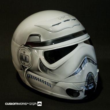 Stormtrooper motorcycle helmet. Dope.