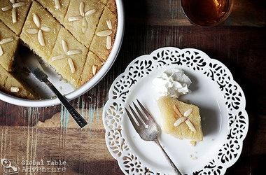 Sweet Semolina Cake with Lemon Rosewater Recipes. #Recipes
