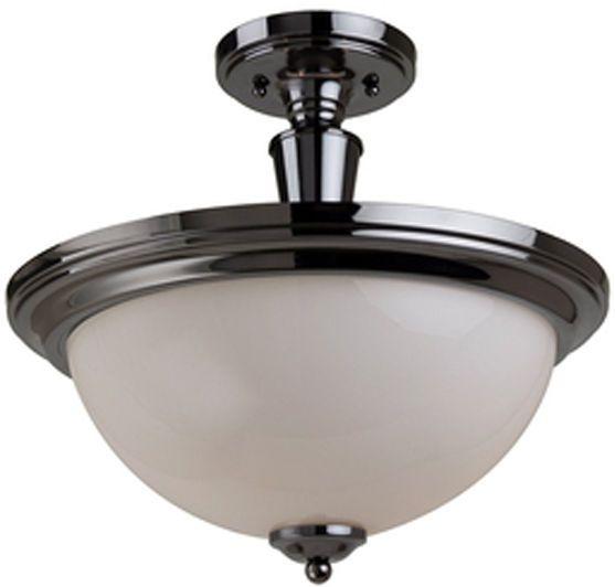 semi flush mount white glass ceiling light lighting fixture black