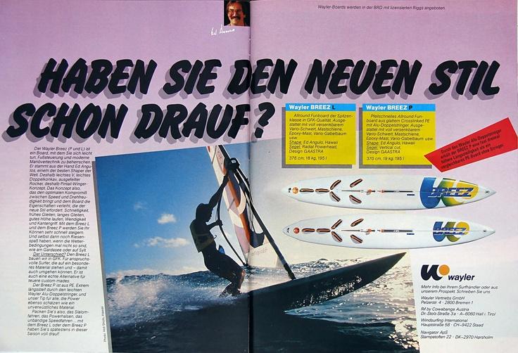 WAYLER BREEZE sailboard 1984 - shaper Ed Angulo