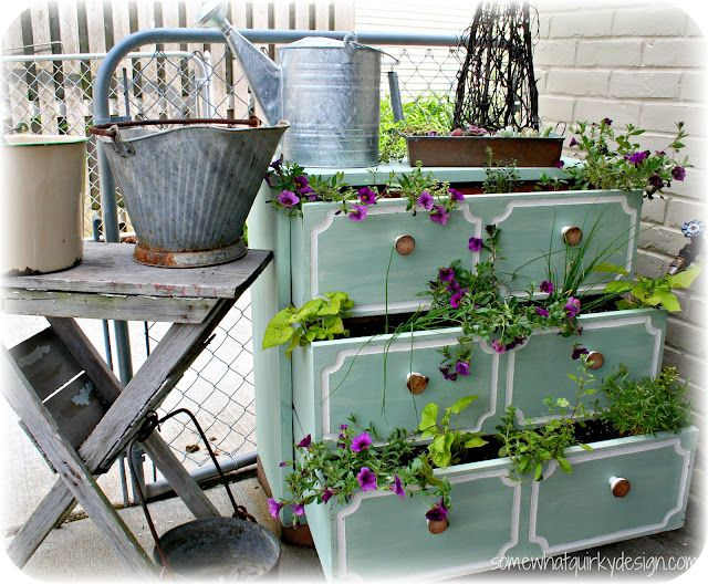 Pin by lauren nicholson on garden ideas pinterest for Repurposed furniture before and after
